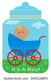 """Cute design of a baby in a carriage, on top of a bottle shaped background and text that says """"it's a boy!"""". Eps10"""