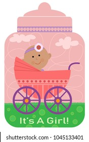 """Cute design of a baby girl in a carriage, on top of a bottle shaped background and text that says """"it's a girl"""". Eps10"""