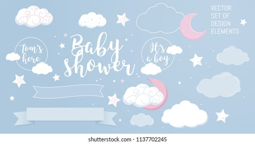 Cute design elements for baby shower invotation and party. Vector set.