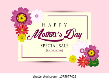 Cute Design Happy Mother's Day Sale Background with Flowers and Leaves Illustration - Vector