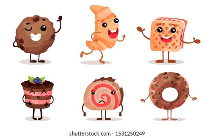 Cute desserts with face, arms and legs. Vector illustration.