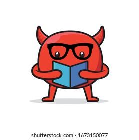 Cute devil mascot character design vector