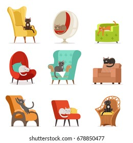 Cute different cats characters lying and resting on armchairs set of vector Illustrations