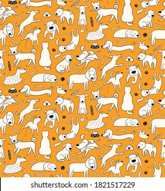 Cute different dog doodles seamless pattern, food, toys, bones, black and white on orange. Hand drawn vector illustration. Line art. Design concept for trendy fashion print, wallpaper, wrapping paper.