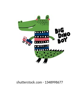 Cute dino. Cartoon creative crocodile vector illustration in scandinavian style. Vector Illustration. Can be used print print for t-shirts, home decor, posters, cards.