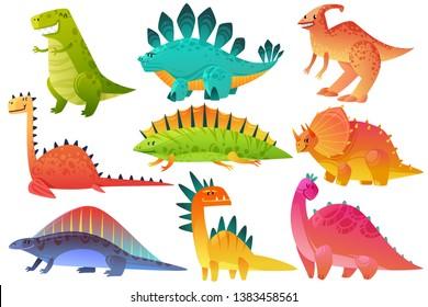 Cute dino. Dinosaur dragon wild animals character nature happy kids pterosaur brontosaurus dinos figure jungle cartoon monster vector icons