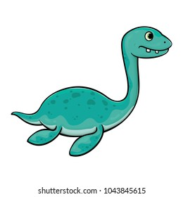 Cute dino elasmosaurus baby vector illustration