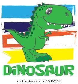 Cute Dino print for T-shirts, textiles, paper, web. Original design with t-rex, dinosaur.  grunge design for boys .