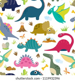 Cute dino seamless pattern.