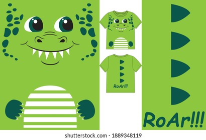 Cute dino smile face and spikes on back. Vector illustration for kids t shirt
