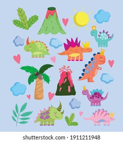 cute dinos volcano palm sun clouds nature cartoon icons vector illustration