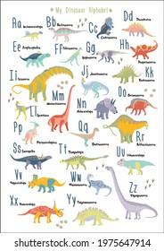 Cute dinosaur alphabet. Each dinosaur is for each lettern for English Alphabet ABC. Kids poster Nursery wall art. Children play room decor. Dinosaurs are herbivores. A3 size. Vegetarians. Vector