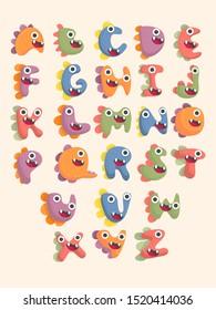 cute dinosaur alphabet font set