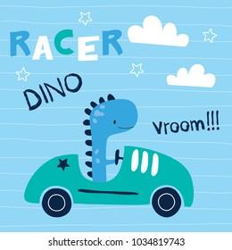 cute dinosaur animal with car vector illustration