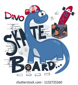 Cute dinosaur boy wearing red hat with skateboard isolated on white background illustration vector, T-Shirt design for kids.