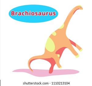 Cute dinosaur brachiosaurus.Flat cartoon illustration.brachiosaurus-herbivorous dinosaur with name.Herbivorous dinosaur of Jurassic period.Extinct animal.Paleontology animal.brachiosaurus.Dinosaur