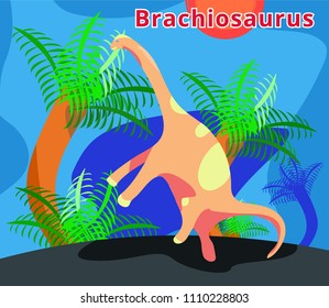 Cute dinosaur brachiosaurus.Flat cartoons illustration. Brachiosaurus in wildlife.dinosaur in jungle with palm. Herbivorous dinosaur of Jurassic period. Extinct animal.Brachiosaurus. Paleontology.