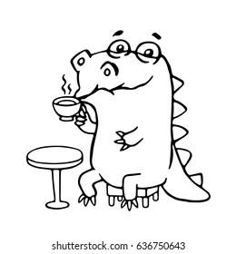 Cute dinosaur in cafe. Vector illustration. Funny cartoon character.