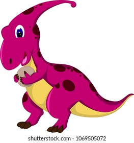 cute dinosaur cartoon walking with smile and bring egg
