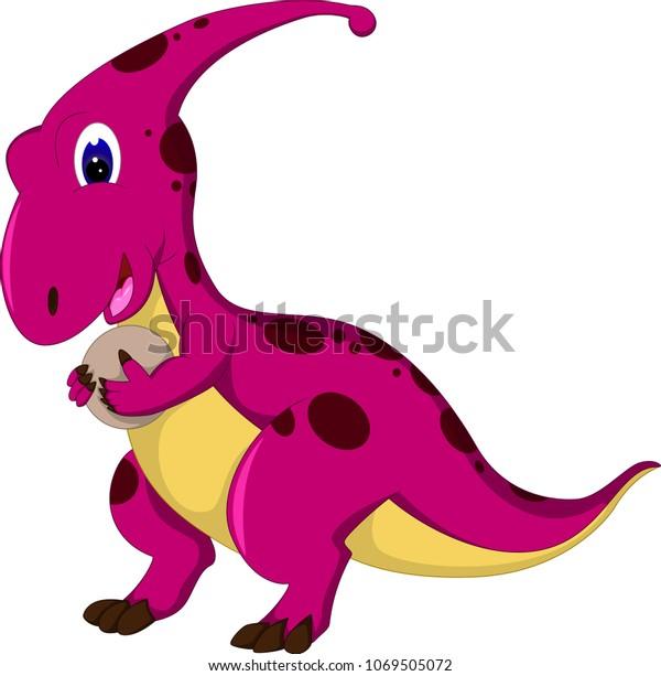 Cute Dinosaur Cartoon Walking Smile Bring Stock Vector Royalty Free 1069505072