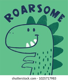 cute dinosaur drawing as vector for kids fashion