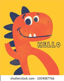 cute dinosaur drawn as vector with grunge texture for kids fashion
