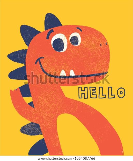 милый динозавр нарисован как вектор с гранж текстуры для детей моды