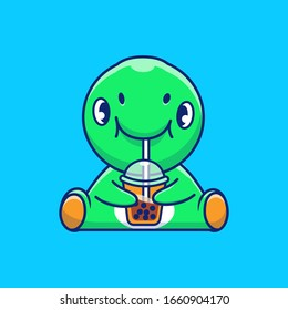 Cute Dinosaur Drinking Boba Vector Icon Illustration. Dino Mascot Cartoon Character. Animal Icon Concept White Isolated. Flat Cartoon Style Suitable for Web Landing Page, Banner, Flyer, Sticker, Card