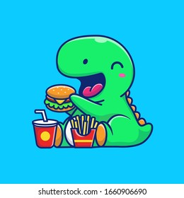 Cute Dinosaur Eating Burger Vector Icon Illustration. Dino Mascot Cartoon Character. Animal Icon Concept White Isolated. Flat Cartoon Style Suitable for Web Landing Page, Banner, Flyer, Sticker, Card