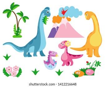 Cute dinosaur family, dinosaur baby, egg and footprint