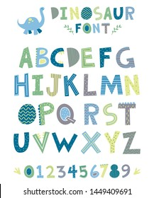 Cute dinosaur font perfect for any dino themed nursery.