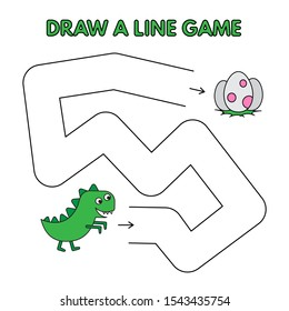 Cute dinosaur game for small children - draw a line. Cartoon illustration for kids education