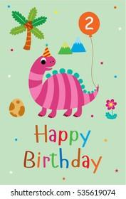 2nd birthday images stock photos vectors shutterstock cute dinosaur happy 2nd birthday greeting card m4hsunfo