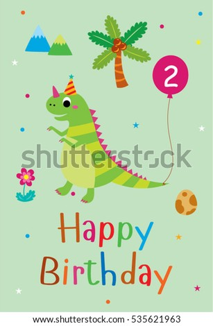 Cute Dinosaur Happy 2nd Birthday Greeting Card