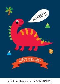 cute dinosaur happy birthday greeting card vector