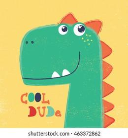 cute dinosaur head drawing for baby fashion