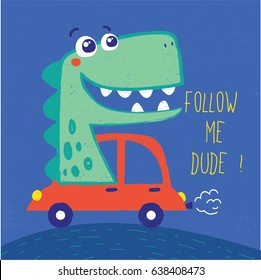 cute dinosaur illustration with car drawn as vector for baby fashion print