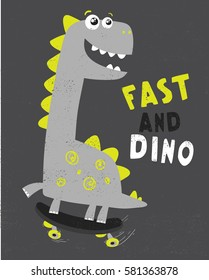 cute dinosaur illustration with skate for baby tee print