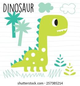 cute dinosaur in the jungle vector illustration