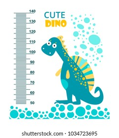 Cute dinosaur. Meter wall or height meter from 50 to 140 centimeter