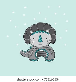 Cute dinosaur multi-coloured vector illustration on a pale green background with stars.