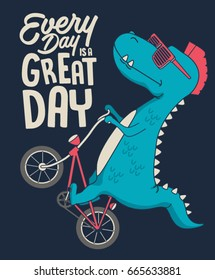cute dinosaur on bicycle. vector t shirt graphic design for kids