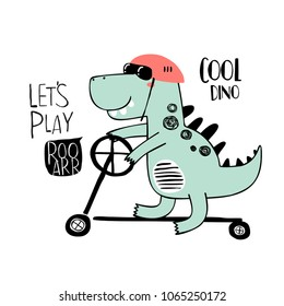 Cute dinosaur on a kick scooter. T-shirt graphics for kids vector illustration. Cool dino.