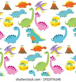 cute dinosaur pattern vector illustration