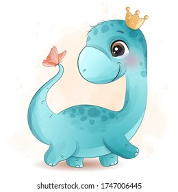 Cute dinosaur playing with butterfly illustration