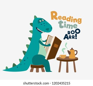 Cute dinosaur reads a book. Funny tyrannosaur drinking tea on the table