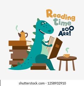 Cute dinosaur reads a book. Funny tyrannosaur drinking tea on the table - Vector