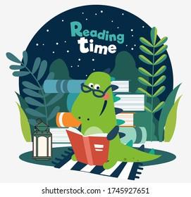 Cute dinosaur reads a book. Funny tyrannosaur