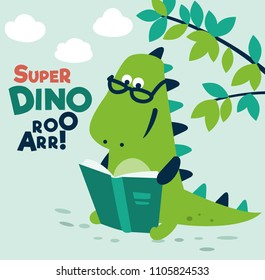 Cute dinosaur reads a book under the tree. Funny tyrannosaur relaxing in park