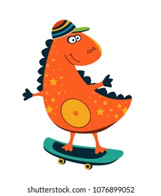 Cute dinosaur rides on skateboard